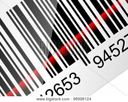 Closeup Barcode Sticker With Red Laser Beam. Vector Illustration