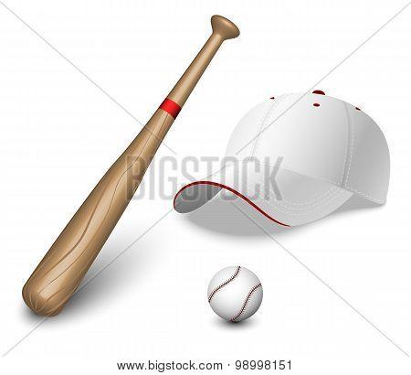 A Set Of A Baseball Bat, Ball And Caps