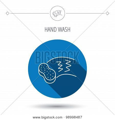 Hand wash icon. Cleaning sponge sign. Blue flat circle button. Linear icon with shadow. Vector poster