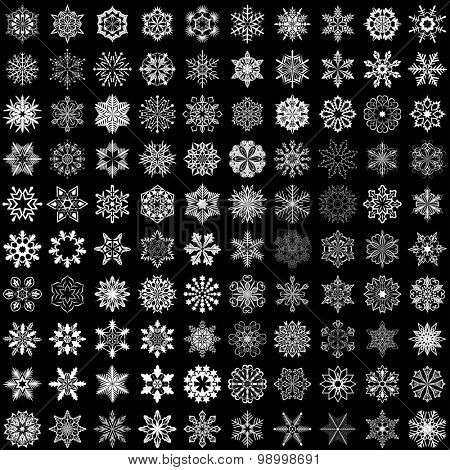 Set of snowflakes isolated on black background. 100 snowflake shapes.