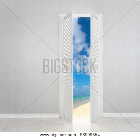 White Door Open To The Perfect Beach