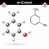 Cresol molecule - structural chemical formula and model of meta-cresol, 2d and 3d isolated on white background, vector, eps 8 poster