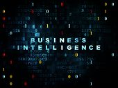 Finance concept: Pixelated blue text Business Intelligence on Digital wall background with Binary Code, 3d render poster