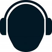 Head in headphones vector simple illustration drawing isolated poster