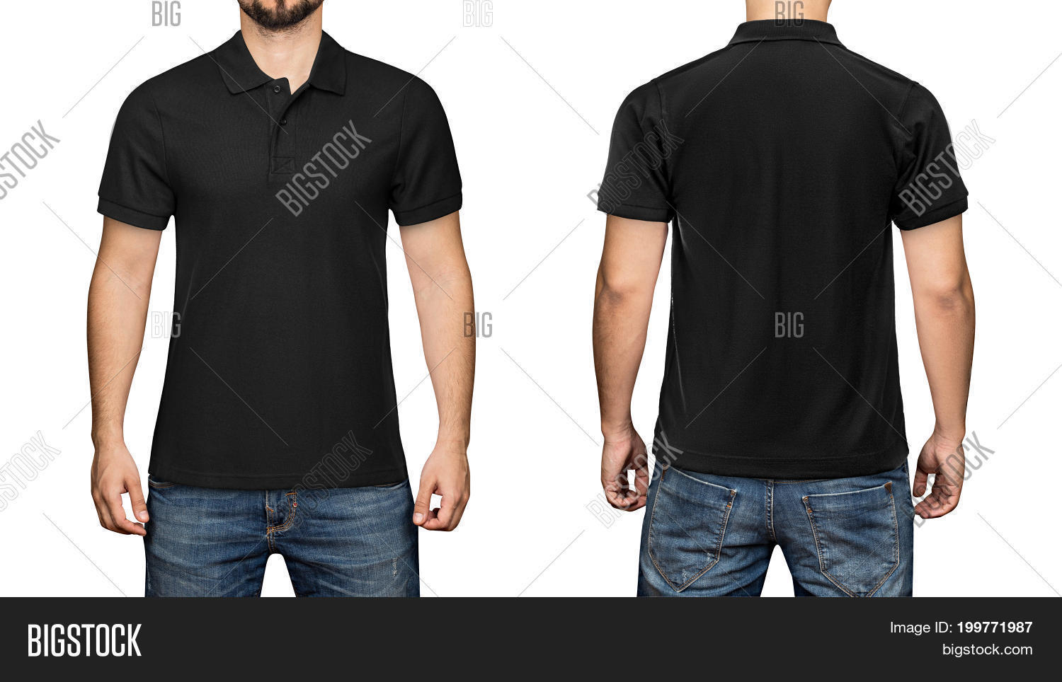 f84da6d5a71097 men in blank black polo shirt, front and back view, isolated white  background.