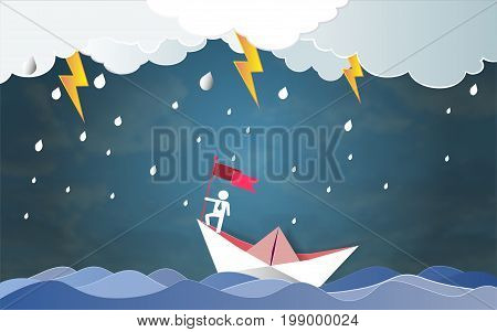 Leadership success concept, Businessman on top holding flag with boat against crazy sea and thunderbolt in storm, Symbol of success, achievements in business life, Vector illustration Paper art style.