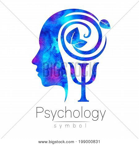 Modern head Logo sign of Psychology. Profile Human. Blue color isolated on white background.