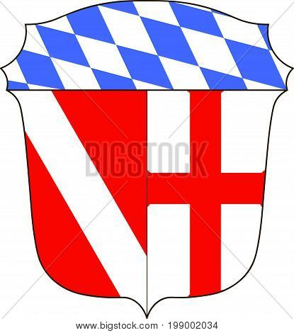 Coat of arms of Regensburg district in Upper Palatinate in Bavaria of south-east Germany. Vector illustration from the