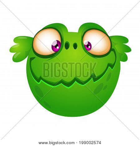 Cute cartoon green alien head. Vector illustration for children book sticker print