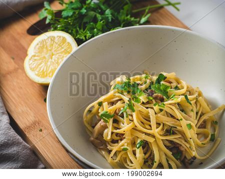 Homemade Lemon Parsley Pancetta Linguini Pasta Meal
