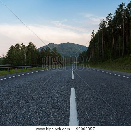 Beauty road M52 called Chemalsky trakt in Altay, Siberia, Russia.