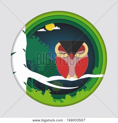 Paper art carve of bird (red owl) on tree branch in forest at night background, Origami concept nature and animals idea, Symbol of wisdom, happiness and luck, Vector illustration Paper art style.