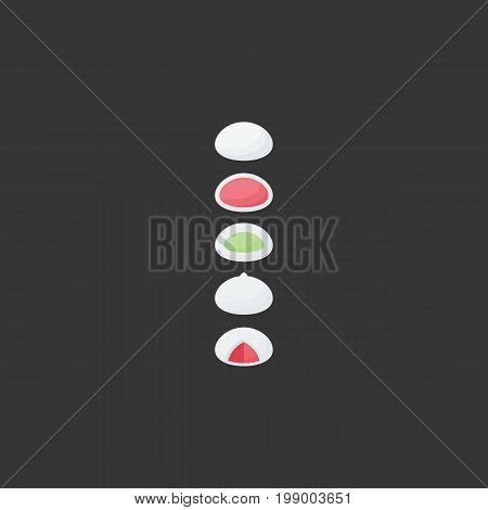 Mochi vector flat icon Flat design of Japanese rice dessert dango with round shadow isolated on the dark background cute vector illustration with reflections
