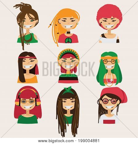 Vector set with lovely rastafarian girls characters. Heads with different hairstyle color and accessories