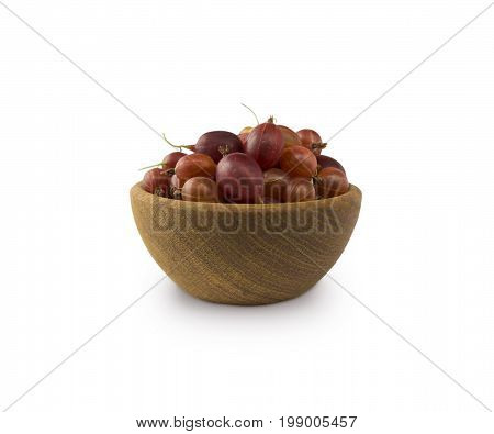 Gooseberries fruits isolated on white background. Gooseberries in a bowl with copy space for text. Ripe gooseberry close-up. Background berry. Sweet and juicy berry.