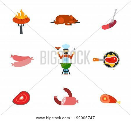 Pork icon set. Barbeque Sausage Grilled Pig Man Grilling Steak Meat Products Ham With Bone