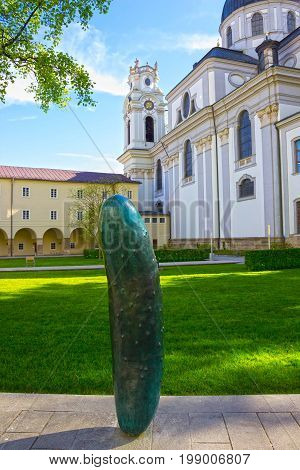 Salzburg, Austria - May 01, 2017: Baroque Collegiate Church in Salzburg is University Church. It is located at University Square. Church is a listed building and part of UNESCO World Heritage historical center of Salzburg. Austria.