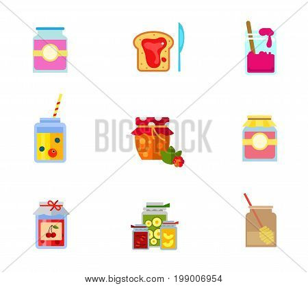 Preserving icon set. Jar With Label Berry Jam On Bread And Knife Jam Jar With Spoon Berries Smoothie Homemade Cloudberry Jam Jar With Paper Cover Honey