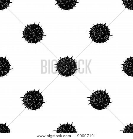 Porcupine fish icon in black design isolated on white background. Sea animals symbol stock vector illustration.