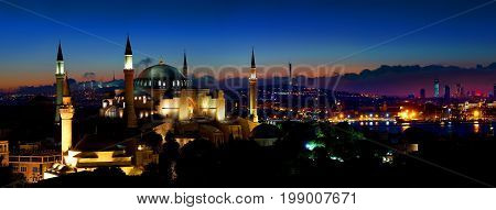 Panorama of Istanbul with the view on Hagia Sophia and modern district of the city, Turkey