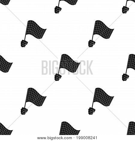 A racing, starting and finishing fluttering flag in his hand. Checkered flag single icon in black style vector symbol stock illustration .
