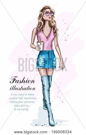Beautiful young woman in fashion clothes. Full body portrait of posing fashion model. Cute girl with coffee cup. Fashion girl in sunglasses. Sketch. Vector illustration.