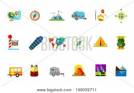 Traveling with tent icon set. Globe and Map Compass Mountain Peak Vacation Destination on Map Campfire Sleeping Bag Hiking Backpack Trailer Backpack Caravan Camping Tent Northern Light and Deer