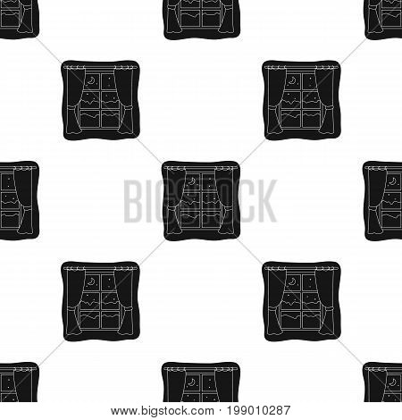Night out the window icon in black design isolated on white background. Sleep and rest symbol stock vector illustration.