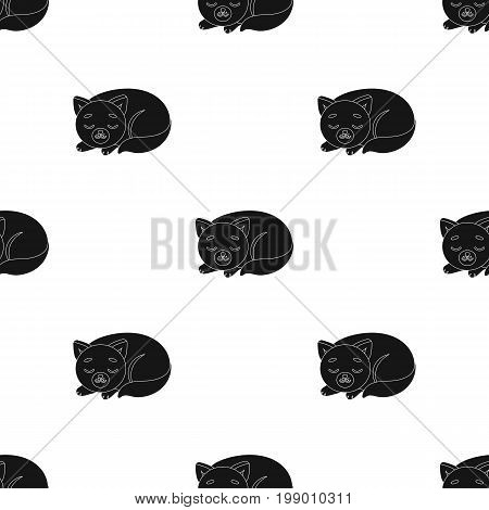 Sleeping cat icon in black design isolated on white background. Sleep and rest symbol stock vector illustration.