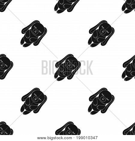 Toy rabbit icon in black design isolated on white background. Sleep and rest symbol stock vector illustration.