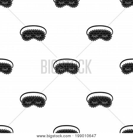 Blindfolds icon in black design isolated on white background. Sleep and rest symbol stock vector illustration.