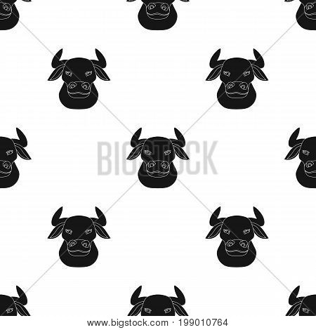 Head of bull icon in black design isolated on white background. Spain country symbol stock vector illustration.