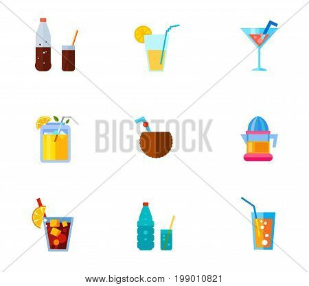 Tropical beverages icon set. Bottle and Glass with Cola Orange Juice Cocktail Summer Drink Coconut Cocktail Electric Juicer Cuba Libre Drink Soda Glass