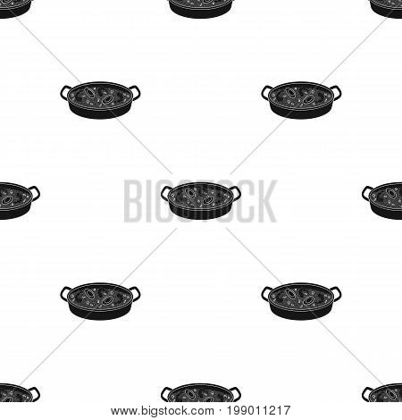Paella icon in black design isolated on white background. Spain country symbol stock vector illustration.