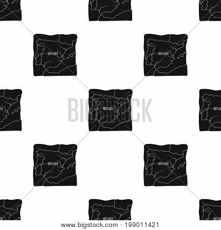 Territory of Spain icon in black design isolated on white background. Spain country symbol stock vector illustration.