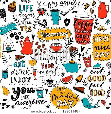 Cafe pattern with doodle tea pots, cups, inspirational quotes and desserts. Coffee is always a good idea. Eat good, feel good. Enjoy your meal. Seamless texture for menu design