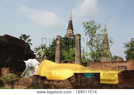 reclining Buddha at Wat Yai chai Mongkol, Wat Yai chai Monghon, Ayutthaya, Thailand April 25 2014