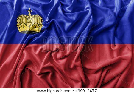 Ruffled waving Liechtenstein flag national flag close