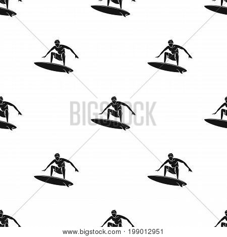 Surfer in action icon in black design isolated on white background. Surfing symbol stock vector illustration.