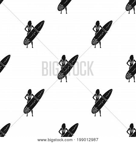 Girl is holding a surfboard icon in black design isolated on white background. Surfing symbol stock vector illustration.