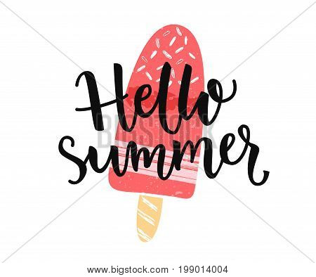Hello summer banner with modern calligaphy caption and hand drawn ice cream on the stick.