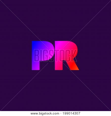 Gradient logo public relations. Icon letters pr. Vector illustration graphic design