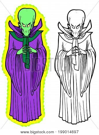 Big headed alien in purple robes, with a glowing aura. Comes with black outline version bonus