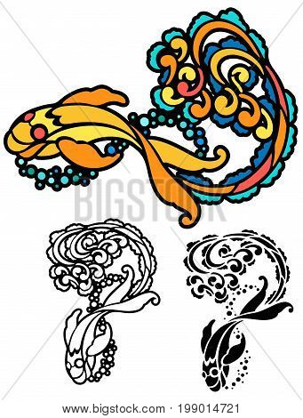 Fantasy goldfish in stencil style. Comes with black outline and stencil versions bonus.
