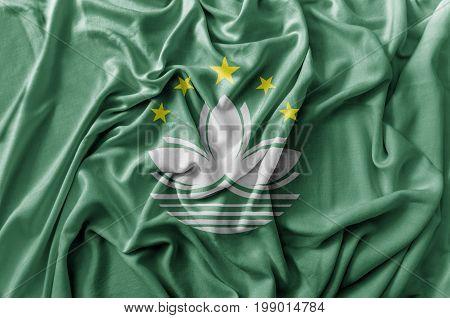 Ruffled waving Macau flag national flag close
