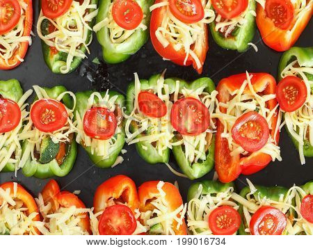 Roast peppers with cheese and tomate roasted bell.