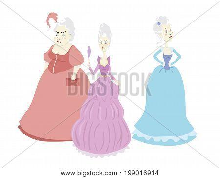 Set of three proud vector cartoon princesses on white background