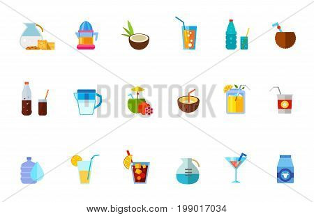 Various refreshing drinks icon set. Coconut Cocktail Tasty Cuba Libre Drink Bottle and Glass with Cola Water Dispenser Orange Juice Milk Summer Drink Soda Glass Electric Juicer Tubule and Flowers