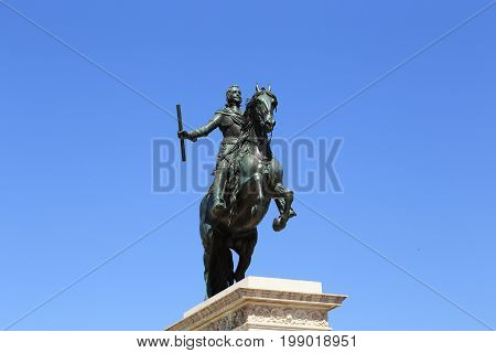 MADRID, SPAIN - MAY 24, 2017: The statue of King Philip IV is the world's first horse sculpture with a horse on the hind limbs.