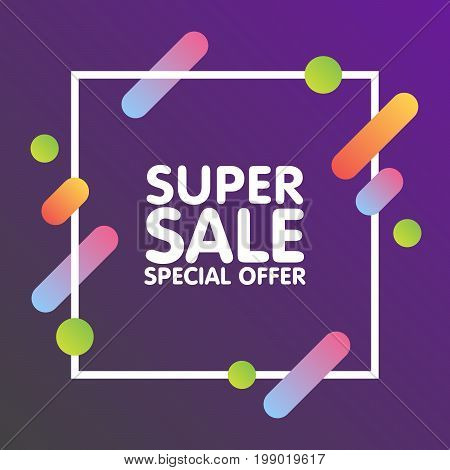 Modern Dynamic Design Style Super Sale Banner. Special Offer And Discounts. Flat Design Banner, Post